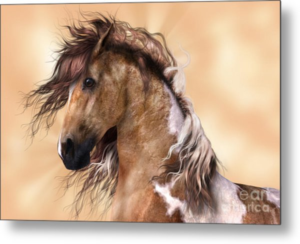 Horse Brown And White Paint Metal Print