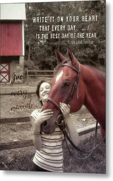 Horse Crazy Quote Metal Print by JAMART Photography