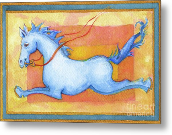 Horse Detail From H Medieval Alphabet Print Metal Print