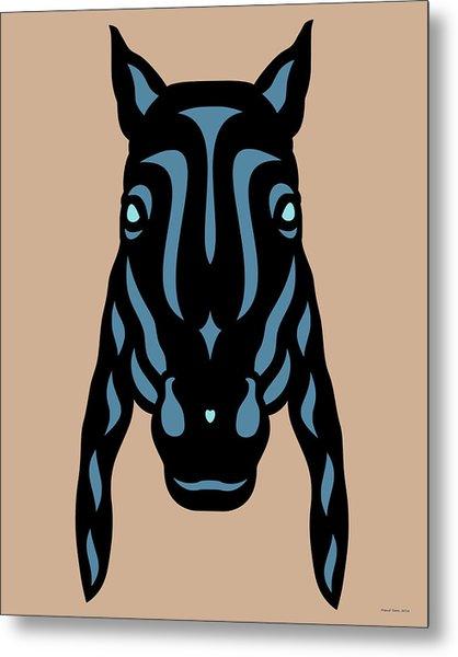 Horse Face Rick - Horse Pop Art - Hazelnut, Niagara Blue, Island Paradise Blue Metal Print