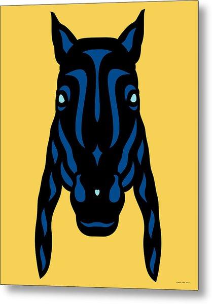 Horse Face Rick - Horse Pop Art - Primrose Yellow, Lapis Blue, Island Paradise Blue Metal Print