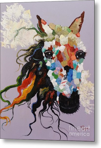 Metal Print featuring the painting Puzzle Horse Head  by Rosario Piazza