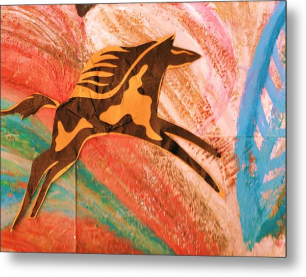 Horse Jumping Over Colors Metal Print by Anne-Elizabeth Whiteway