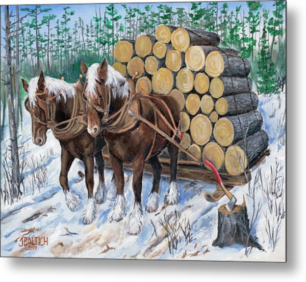 Horse Log Team Metal Print