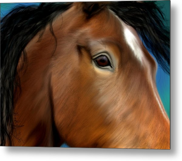 Horse Portrait Close Up Metal Print