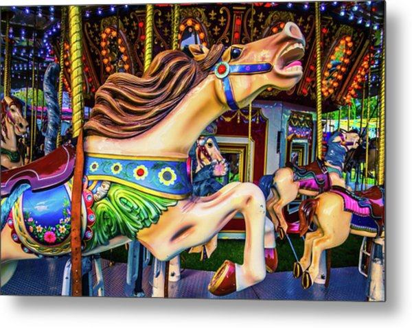Horse Racing Carrousel Metal Print