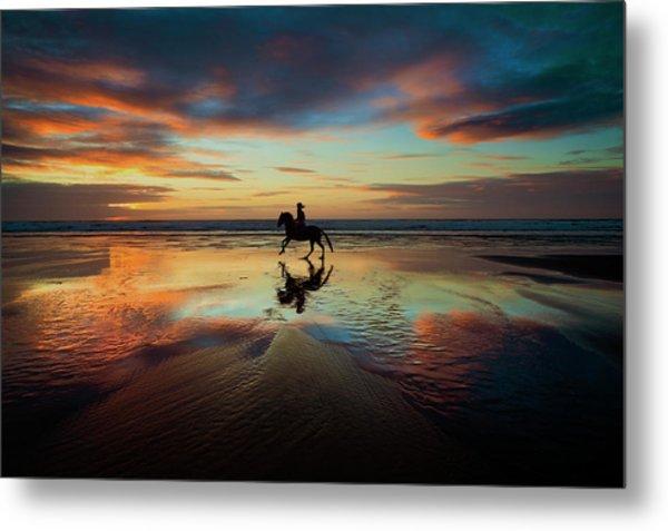 Horse Rider Reflections At Widemouth Beach Metal Print