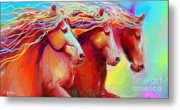 Horse Stampede Painting Metal Print