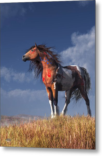 Metal Print featuring the digital art Horse With War Paint by Daniel Eskridge