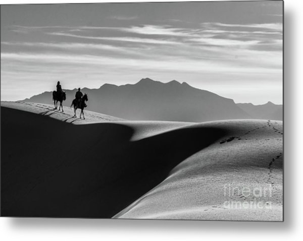 Horseback At White Sands Metal Print