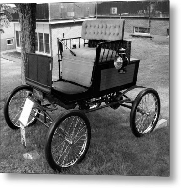Horseless Carriage-bw Metal Print
