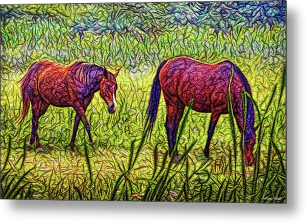 Horses In Tranquil Field Metal Print