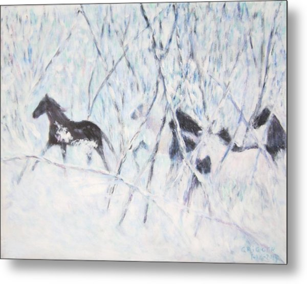 Horses Running In Ice And Snow Metal Print