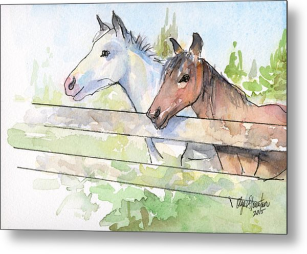Horses Watercolor Sketch Metal Print