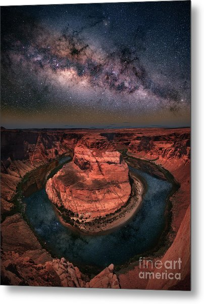 Horseshoe Bend With Milkyway Metal Print
