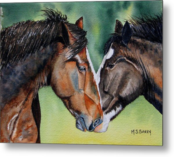 Horsing Around Metal Print by Maria Barry