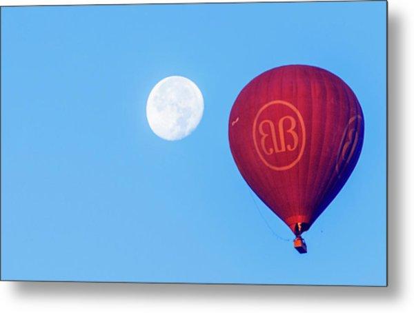 Hot Air Balloon And Moon Metal Print