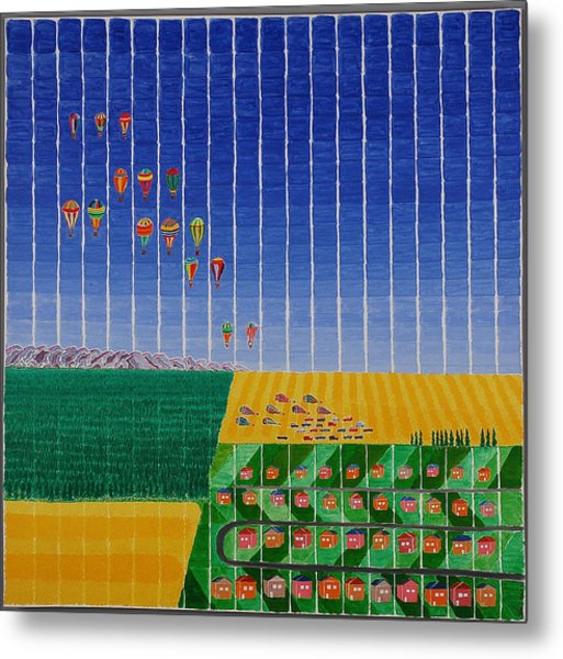 Hot Air Balloon Party Metal Print