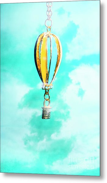 Hot Air Balloon Pendant Over Cloudy Background Metal Print