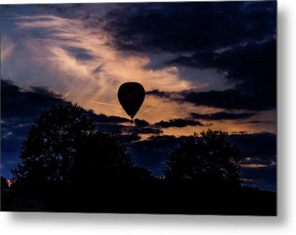 Hot Air Balloon Silhouette At Dusk Metal Print