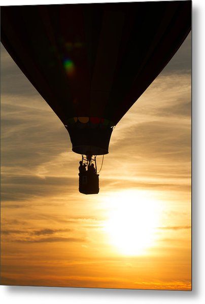 Hot Air Balloon Sunset Silhouette Metal Print