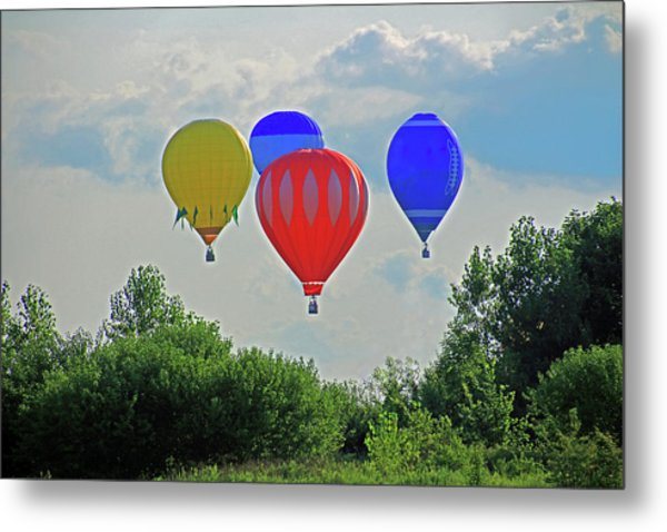 Metal Print featuring the photograph Hot Air Balloons In The Sky by Angela Murdock
