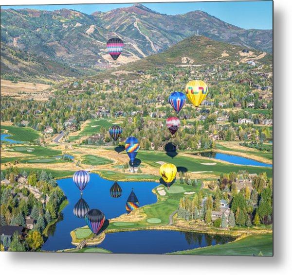 Hot Air Balloons Over Park City Metal Print