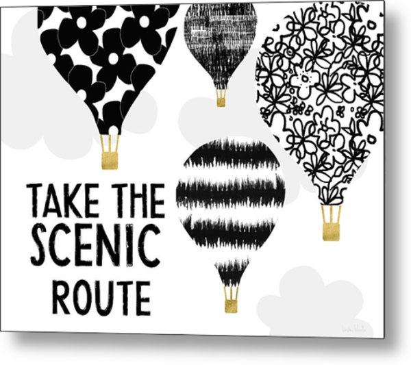 Hot Air Balloons Scenic Route- Art By Linda Woods Metal Print