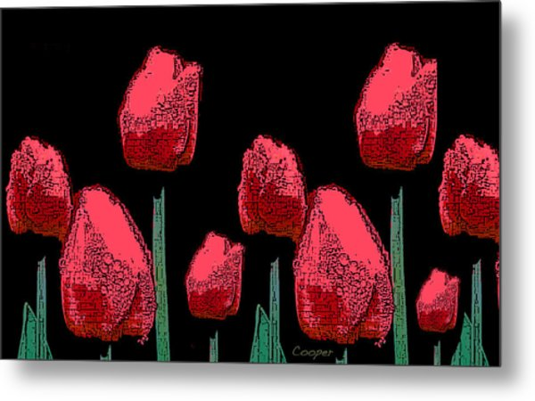 Hot Red Tulips Metal Print