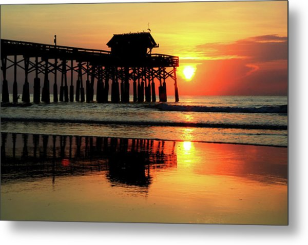Hot Sunrise Over Cocoa Beach Pier  Metal Print