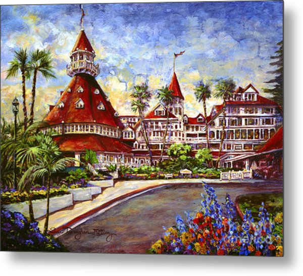 Hotel Del With Flowers Metal Print