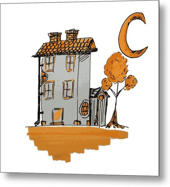House And Moon Metal Print
