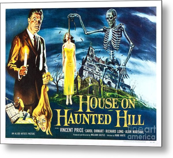 House On Haunted Hill Poster Classic Horror Movie  Metal Print