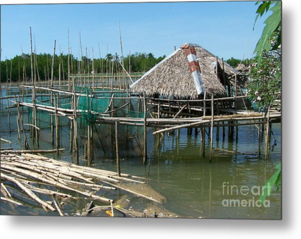 House On Stilts Metal Print by Dindin Coscolluela