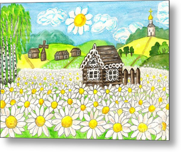 House With Camomiles, Painting Metal Print
