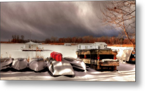 Houseboats In Winter Metal Print by Brian Fisher