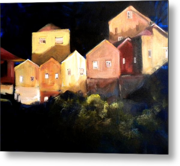 Houses At Sunset Metal Print by Paula Strother