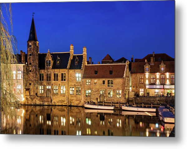 Metal Print featuring the photograph Houses By A Canal - Bruges, Belgium by Barry O Carroll