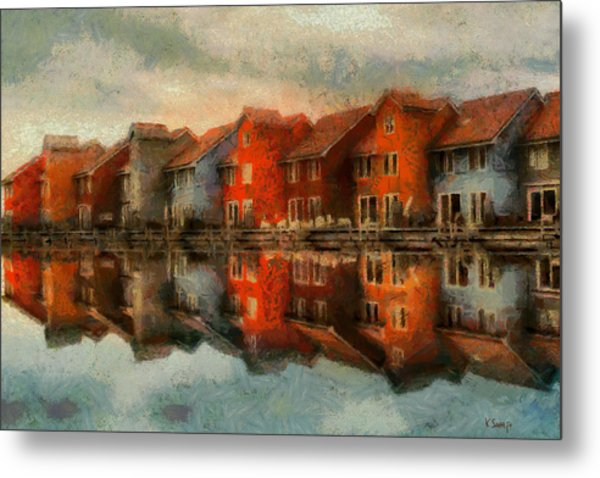 Houses By The Sea Metal Print