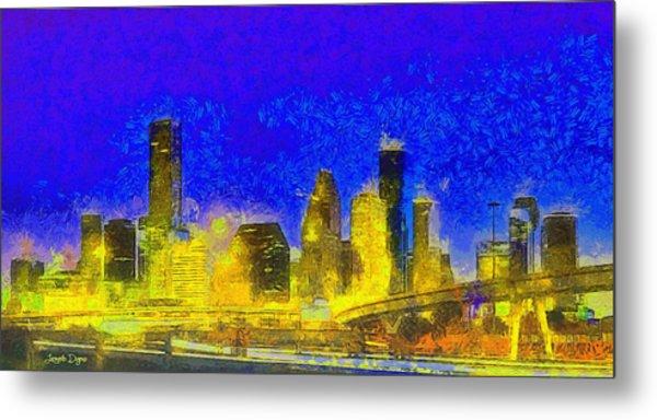 Houston Skyline 45 - Da Metal Print