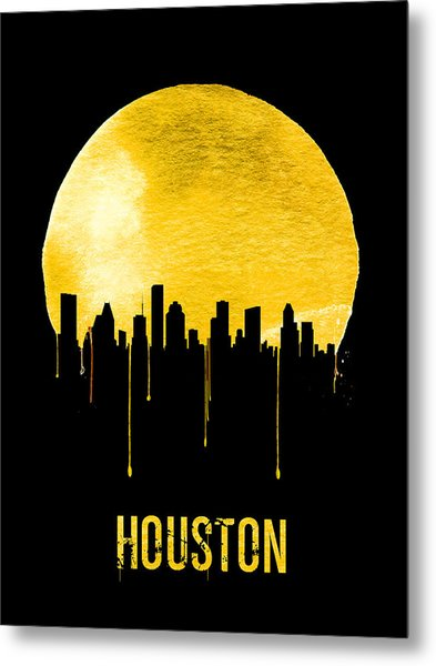Houston Skyline Yellow Metal Print