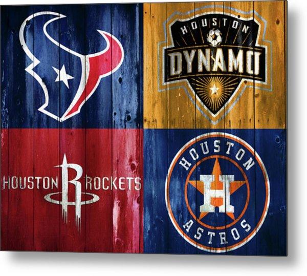 Houston Sports Teams Barn Door Metal Print
