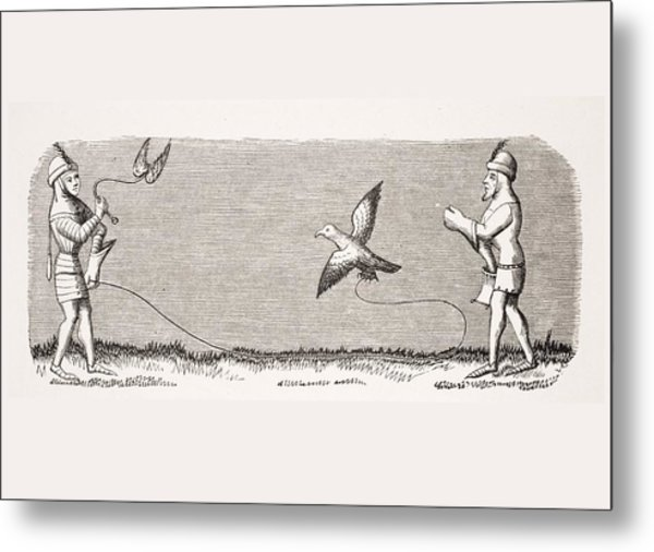How To Train A New Falcon. 19th Century Metal Print