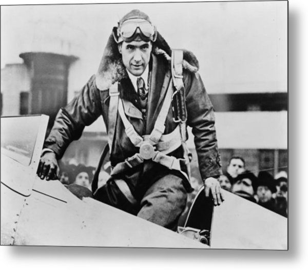 Howard Hughes Emerging From An Airplane Metal Print