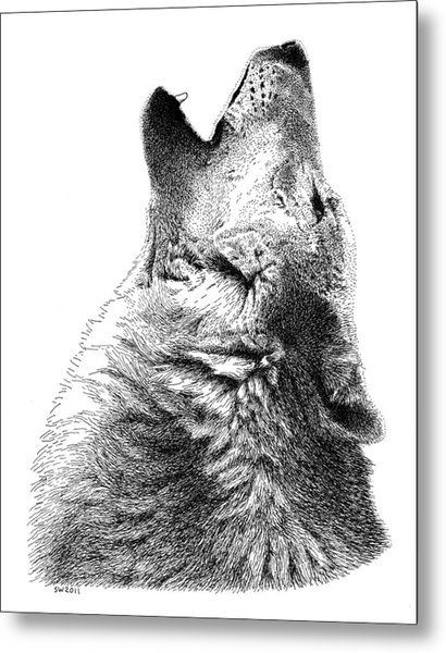 Howling Timber Wolf Metal Print