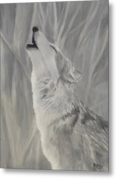 Metal Print featuring the painting Howling Wolf by Kevin Daly