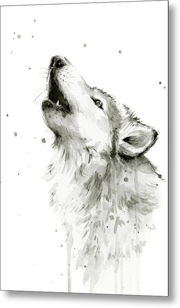 Howling Wolf Watercolor Metal Print