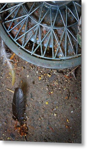 Hubcap And Feather Metal Print by Amanda Wimsatt