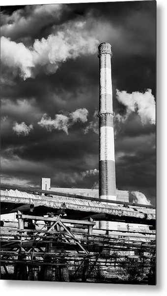 Huge Industrial Chimney And Smoke In Black And White Metal Print