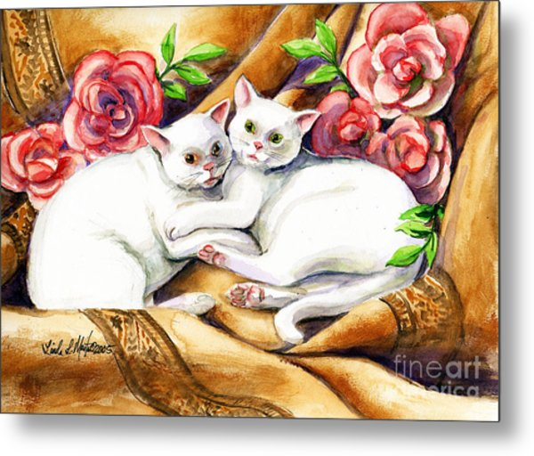Metal Print featuring the painting Hugging Cats by Linda L Martin